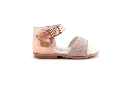 Sandaal roze spiegel met glitter vooraan