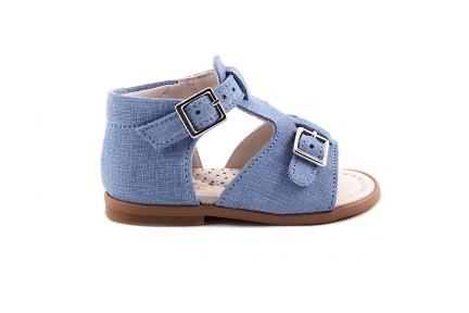 Sandaal T-model Lichtblauw Streepjes