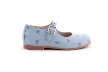 Schoen gesp lichtblauw leder met print uiltjes