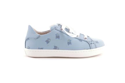 Sneaker blauw met print in blauwe uiltjes