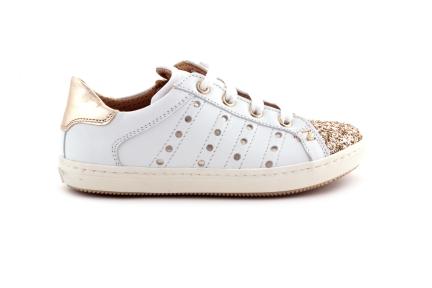 Sneaker Glitter Tip Wit Leder
