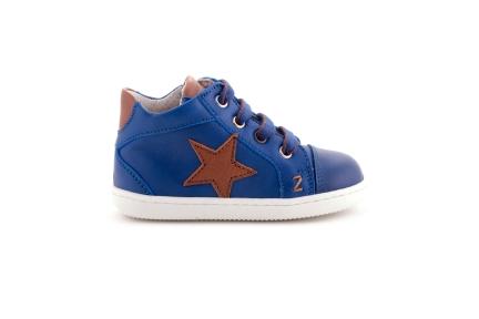 Sneaker Ster Cognac Blauw En Rubber Tip