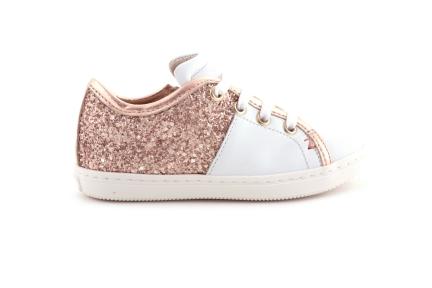 Sneaker Roze Glitter Achteraan Wit Leder