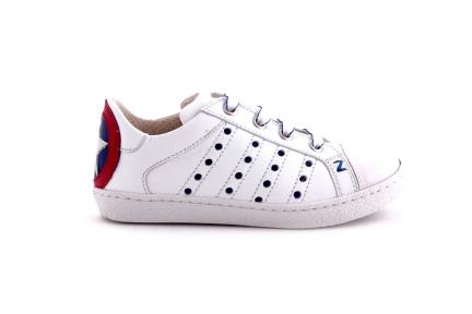 Sneaker laag wit met ster blauw rood wit