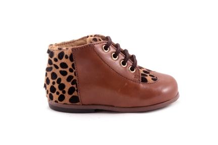 Veterschoen Cognac Leder Leopard Accenten